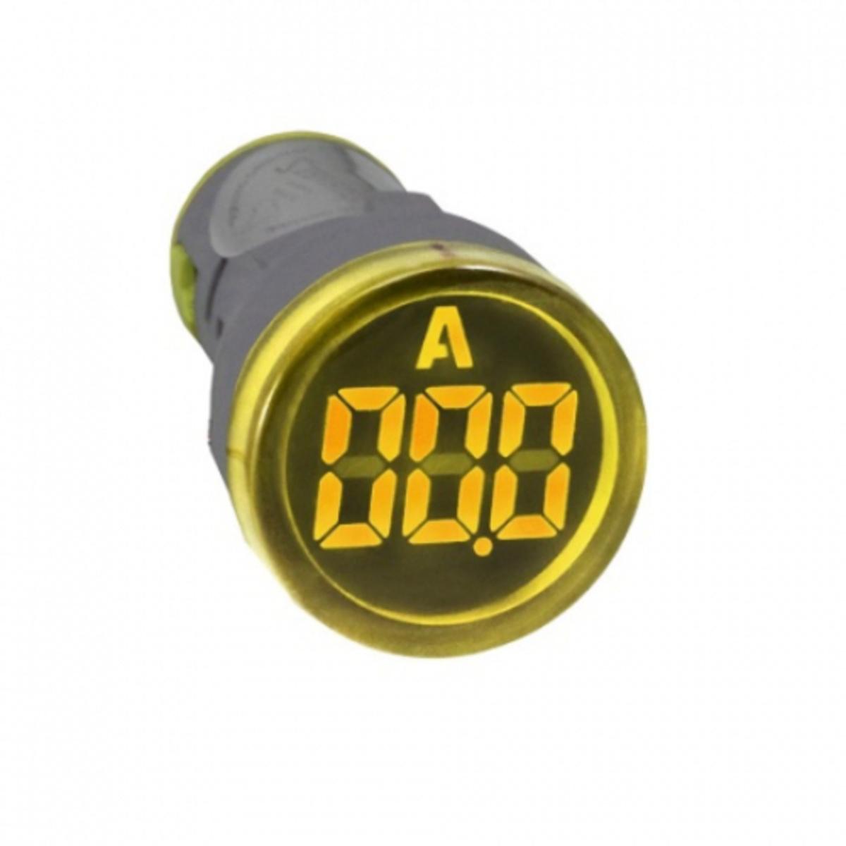 AMPERIMETRO+VOLTIMETRO DIGITAL REDONDO 22MM AMARELO 100A E 50-500VCA ELETRIZA