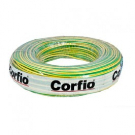 CABO FLEXÍVEL 6,0mm² 750V VERDE/AMARELO ROLO 100 METROS CORFIO