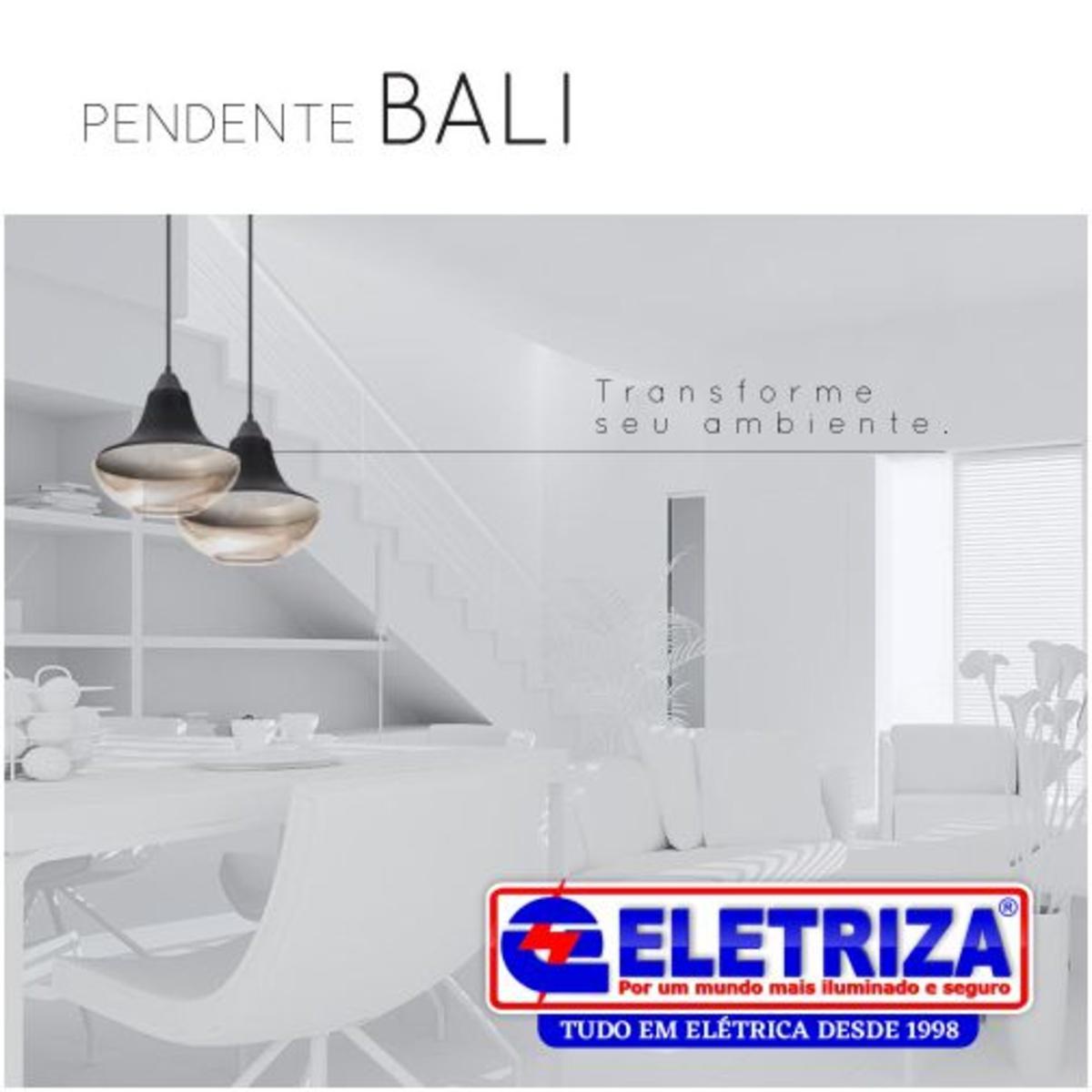PENDENTE BALI VIDRO CHAMPAGNE/ PRETO 1EX27 3834 OPL