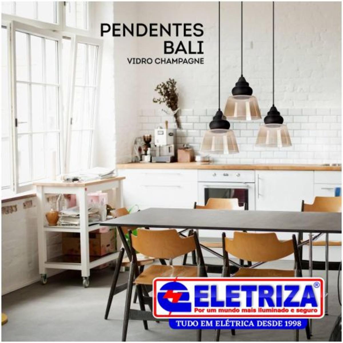 PENDENTE BALI VIDRO CHAMPAGNE/ PRETO 1XE27 3836 OPL