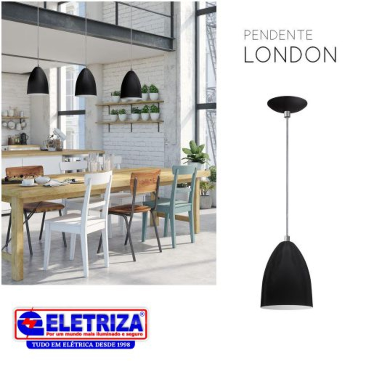 PENDENTE LONDON CAFE/BRANCO 1XE27 3915 OPL