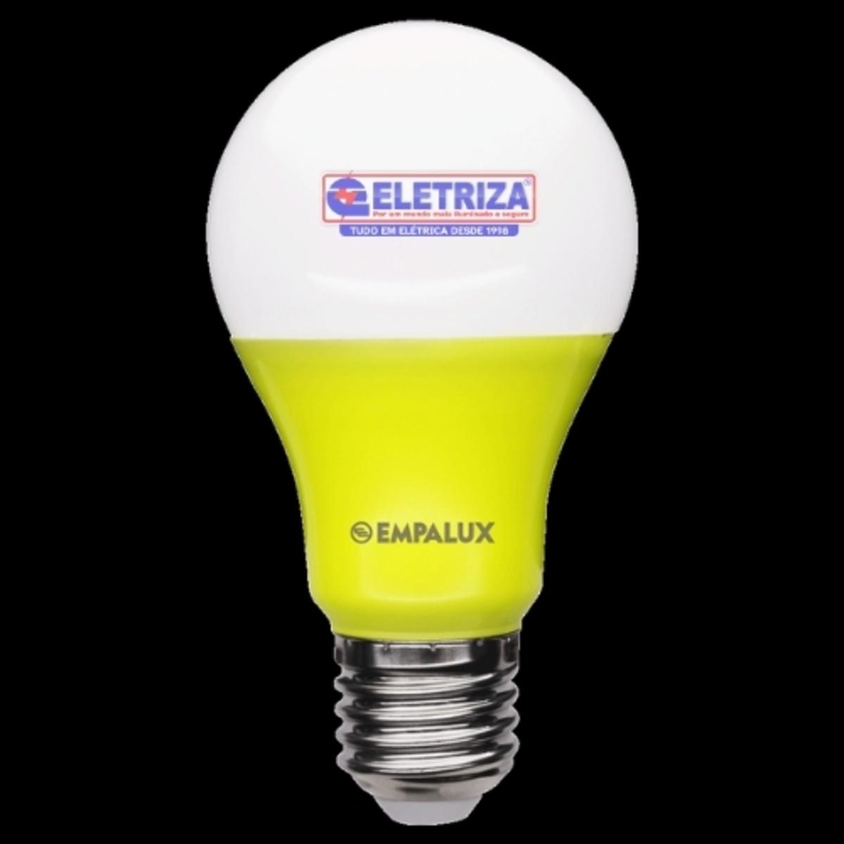 LAMPADA BULBO LED A60 ANTI INSETO 10W AMARELA  BIVOLT  - Lâmpada Bulbo LED Color 10W Bivolt Amarela E27 – AL10311 EMPALUX