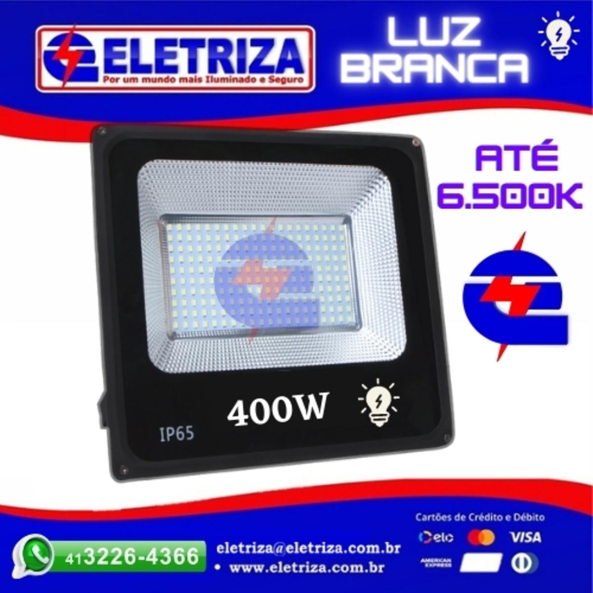 REFLETOR LED 200W 6400K  BRANCO FRIO BIVOLT ELETRIZA PRETO