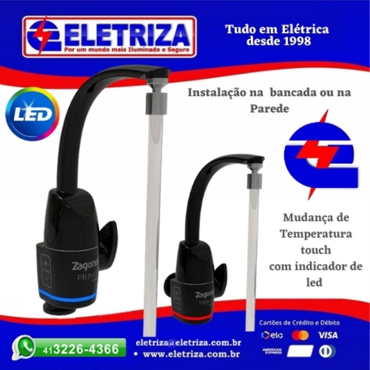 TORNEIRA ELETRICA DE PAREDE E BANCADA -   PRIMA 220V 5500W BLACK ZAGONEL - INDICADOR DE TEMPERATURA  EM LED TOUCH