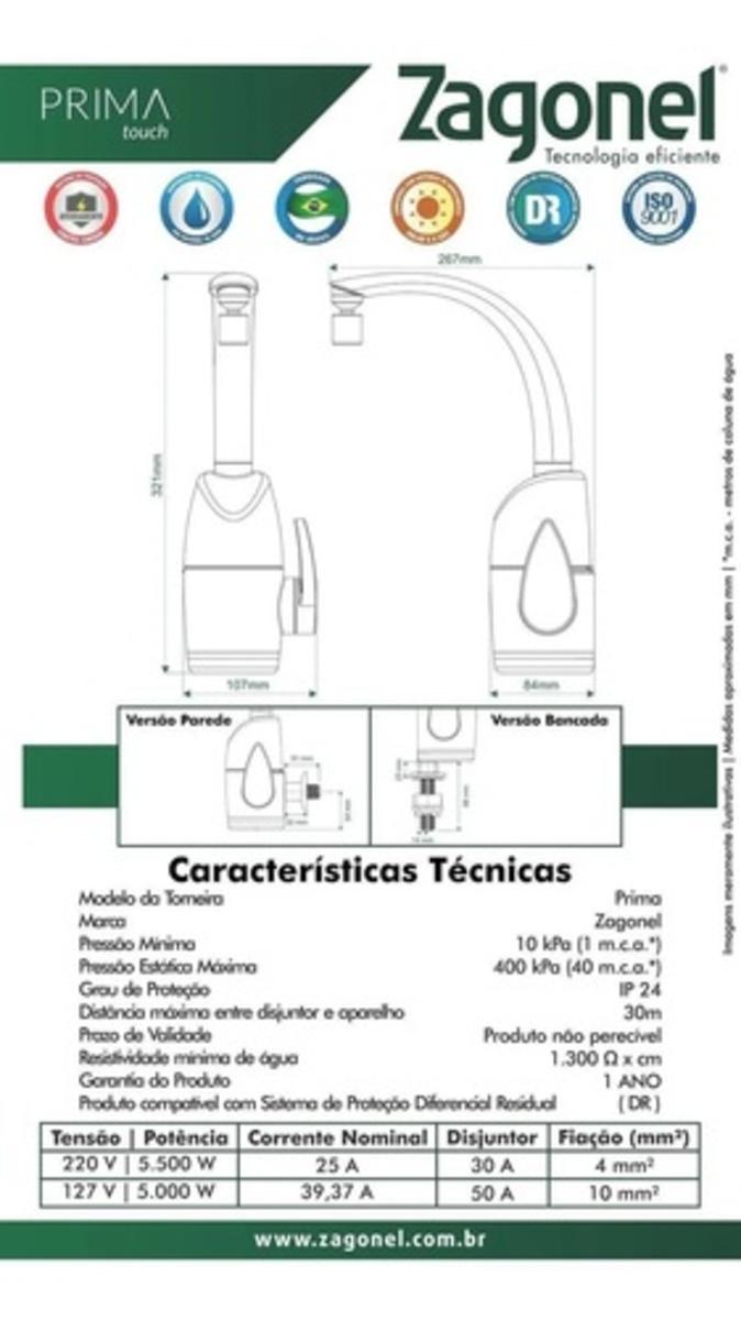 TORNEIRA ELETRICA DE PAREDE E BANCADA  -  ELETRÔNICA PRIMA 127V 5500W BLACK PRETA ZAGONEL -  INDICADOR DE TEMPERATURA  EM LED TOUCH