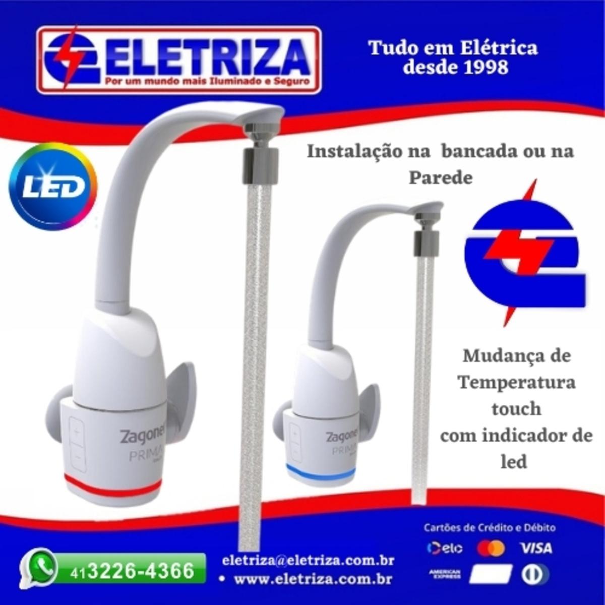 TORNEIRA ELETRICA  DE PAREDE E BANCADA  - ELETRÔNICA PRIMA 5500W 127V BRANCA ZAGONEL - INDICADOR DE TEMPERATURA  EM LED TOUCH