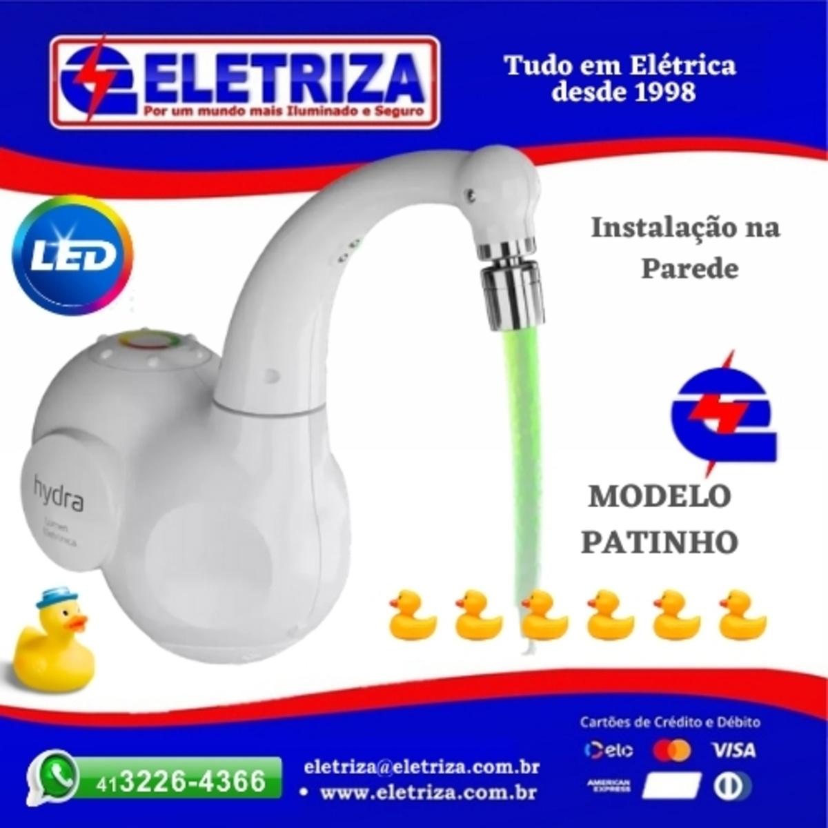 TORNEIRA  ELETRICA  DE PAREDE PATINHO - ELETRÔNICA LUMEN 5500W 220V HYDRA LED