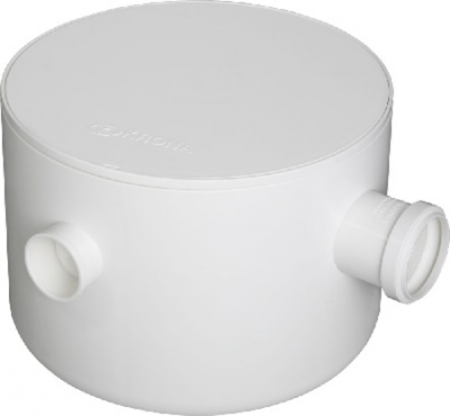 CAIXA SIFONADA PVC NRº23 REDONDA 250x172x50mm BRANCA COM TAMPA KRONA