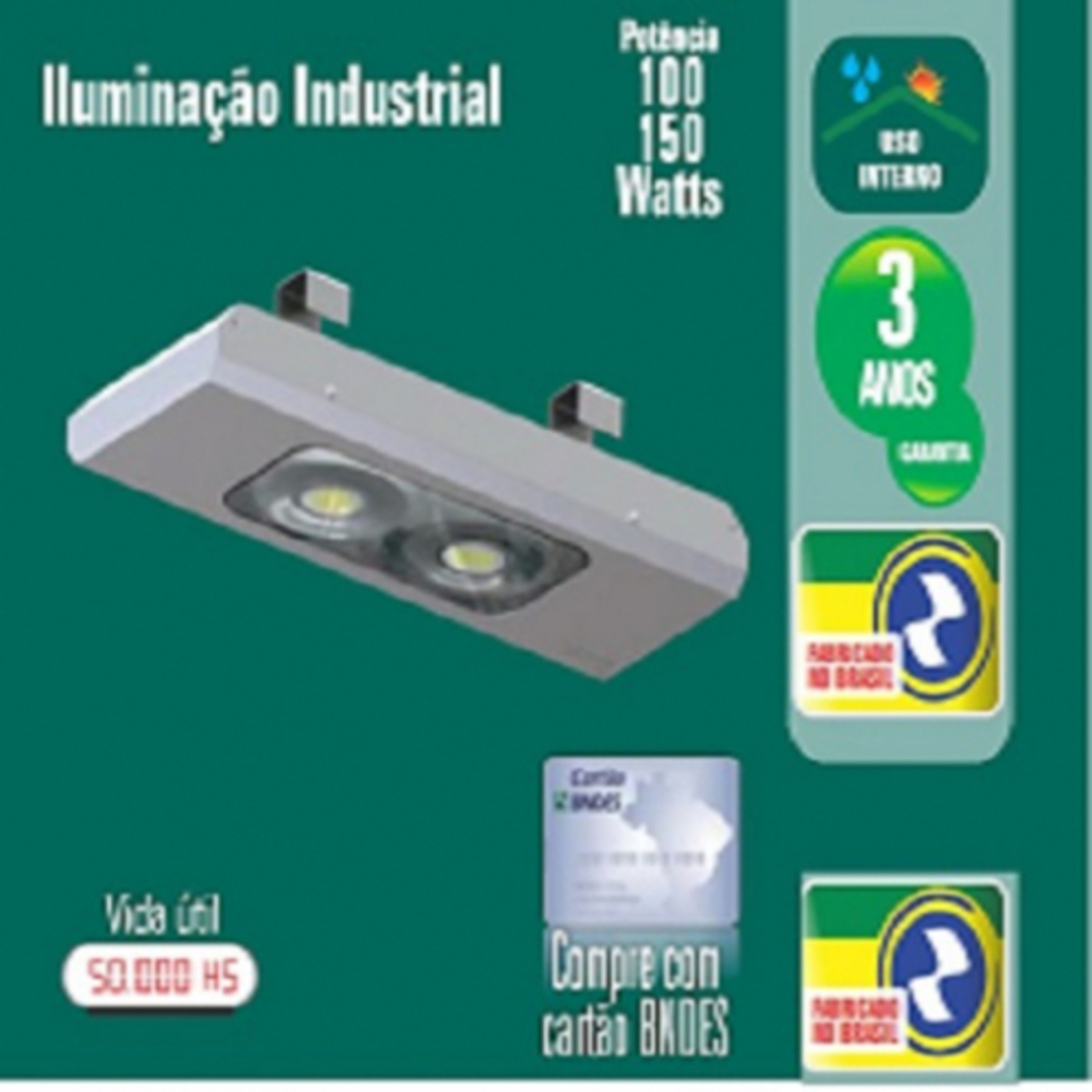 LUMINÁRIA LED 100W INDUSTRIAL10800LM 120º 6000K IP65 IRC 80 ZL-3405 INTERNO ZAGONEL