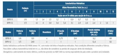 BOMBA PRESSURIZADORA RESIDENCIAL BPR-12 0.33 M 60 127 FRANKLIN SCHNEIDER